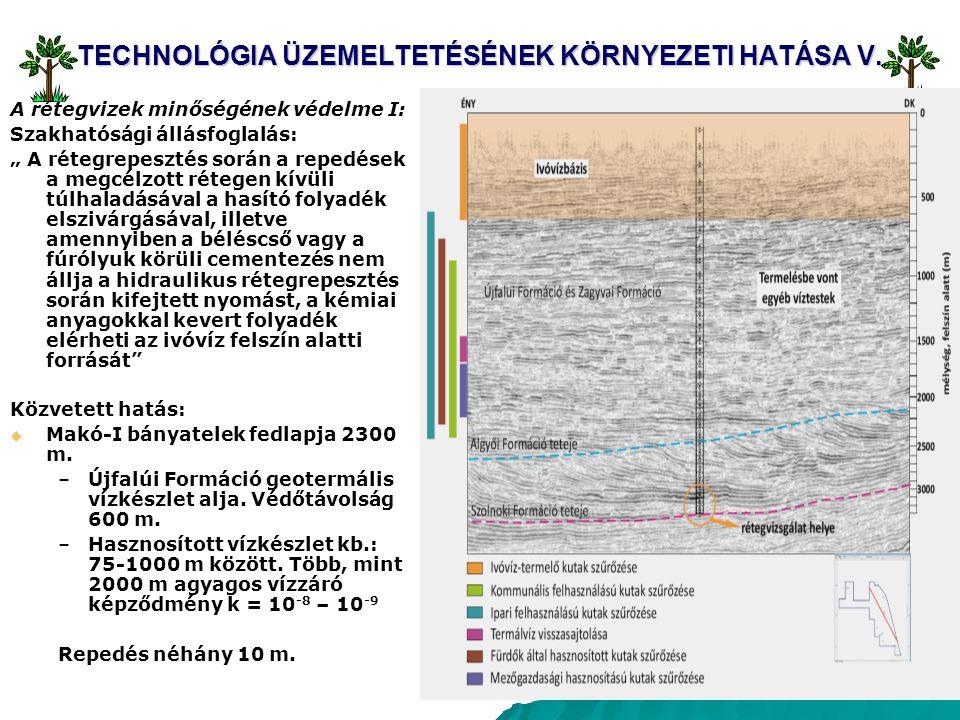 """20 TECHNOLÓGIA ÜZEMELTETÉSÉNEK KÖRNYEZETI HATÁSA V. A rétegvizek minőségének védelme I: Szakhatósági állásfoglalás: """" A rétegrepesztés során a repedés"""