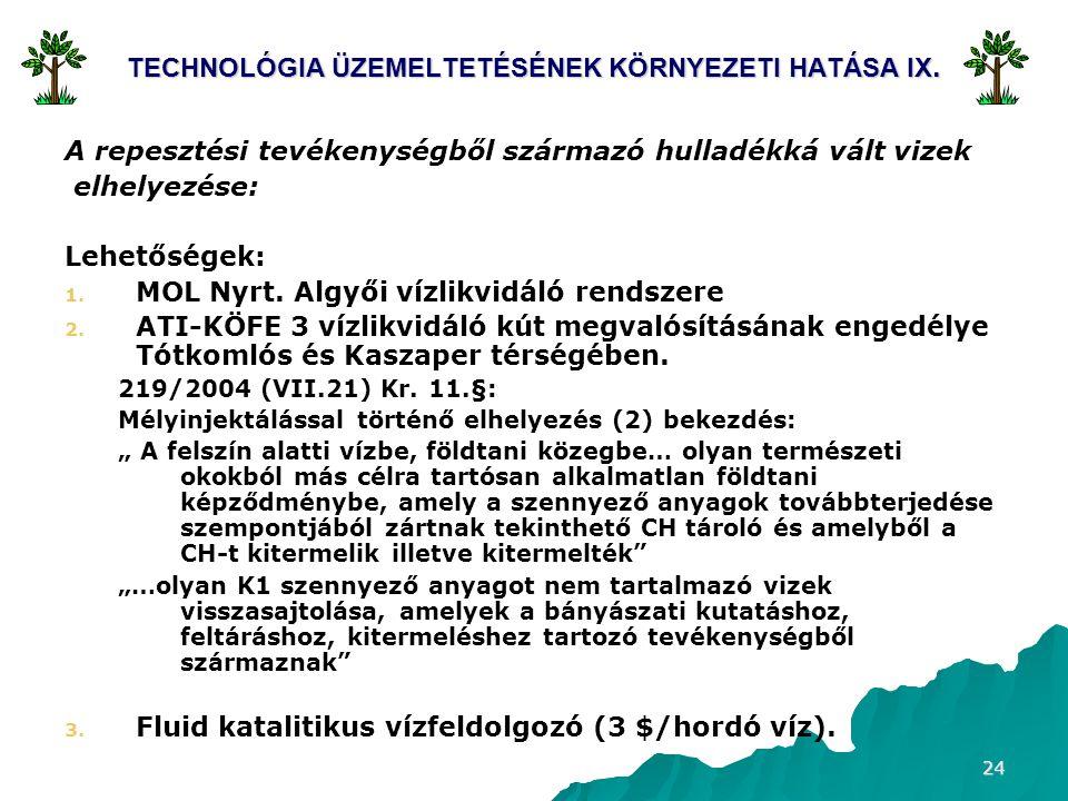 24 TECHNOLÓGIA ÜZEMELTETÉSÉNEK KÖRNYEZETI HATÁSA IX. A repesztési tevékenységből származó hulladékká vált vizek elhelyezése: Lehetőségek: 1. 1. MOL Ny