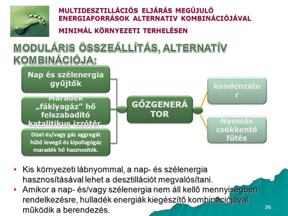 26 MULTIDESZTILLÁCIÓS ELJÁRÁS MEGÚJULÓ ENERGIAFORRÁSOK ALTERNATIV KOMBINÁCIÓJÁVAL MINIMÁL KÖRNYEZETI TERHELÉSEN •Kis környezeti lábnyommal, a nap- és
