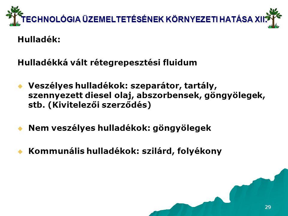 29 TECHNOLÓGIA ÜZEMELTETÉSÉNEK KÖRNYEZETI HATÁSA XII.