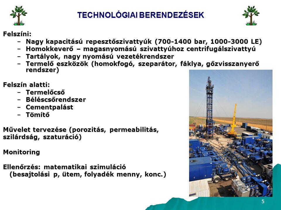 5 TECHNOLÓGIAI BERENDEZÉSEK Felszíni: –Nagy kapacitású repesztőszivattyúk (700-1400 bar, 1000-3000 LE) –Homokkeverő – magasnyomású szivattyúhoz centrifugálszivattyú –Tartályok, nagy nyomású vezetékrendszer –Termelő eszközök (homokfogó, szeparátor, fáklya, gőzvisszanyerő rendszer) Felszín alatti: –Termelőcső –Béléscsőrendszer –Cementpalást –Tömítő Művelet tervezése (porozitás, permeabilitás, szilárdság, szaturáció) Monitoring Ellenőrzés: matematikai szimuláció (besajtolási p, ütem, folyadék menny, konc.) (besajtolási p, ütem, folyadék menny, konc.)