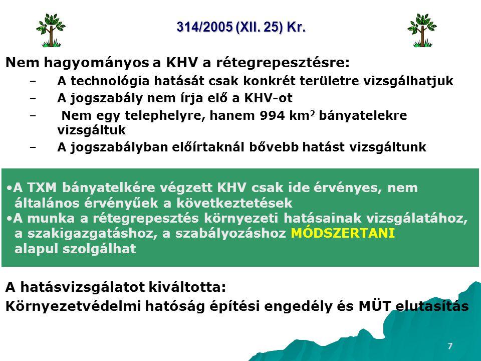7 314/2005 (XII. 25) Kr. Nem hagyományos a KHV a rétegrepesztésre: – –A technológia hatását csak konkrét területre vizsgálhatjuk – –A jogszabály nem í
