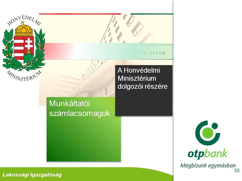 Retail DivízióLakossági Igazgatóság A kedvezmények igénybevételének alapvető feltétele Jövedelem átutalás a szerződött munkáltatótól az OTP banknál vezetett számlacsomagra 31