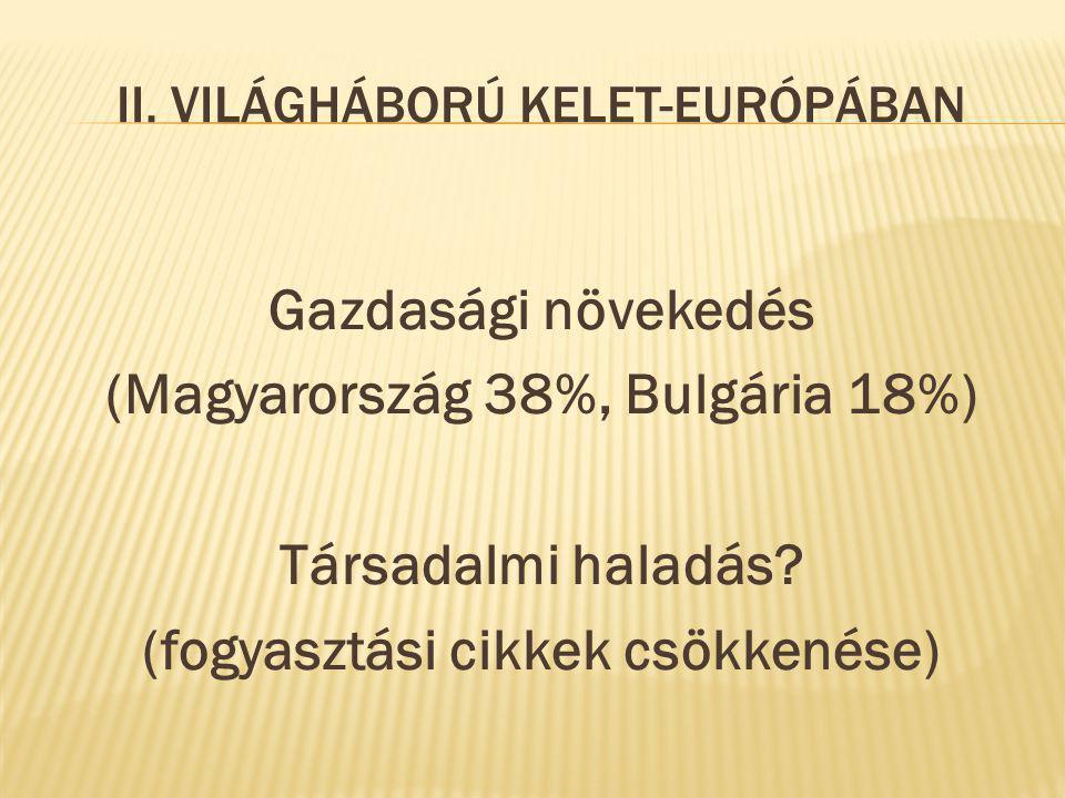 II. VILÁGHÁBORÚ KELET-EURÓPÁBAN Gazdasági növekedés (Magyarország 38%, Bulgária 18%) Társadalmi haladás? (fogyasztási cikkek csökkenése)