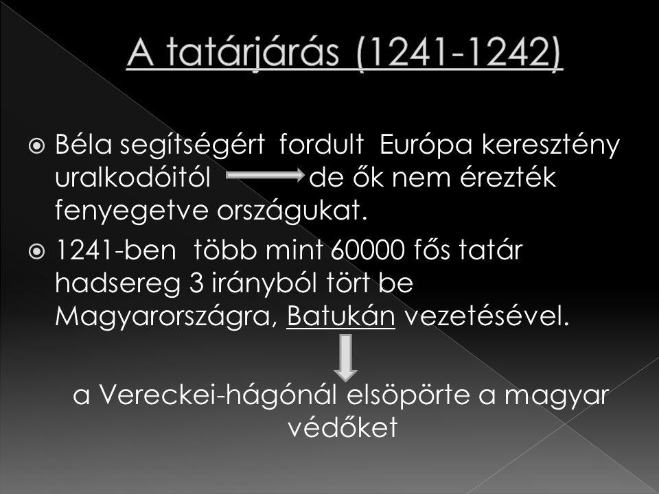  Béla segítségért fordult Európa keresztény uralkodóitól de ők nem érezték fenyegetve országukat.  1241-ben több mint 60000 fős tatár hadsereg 3 irá