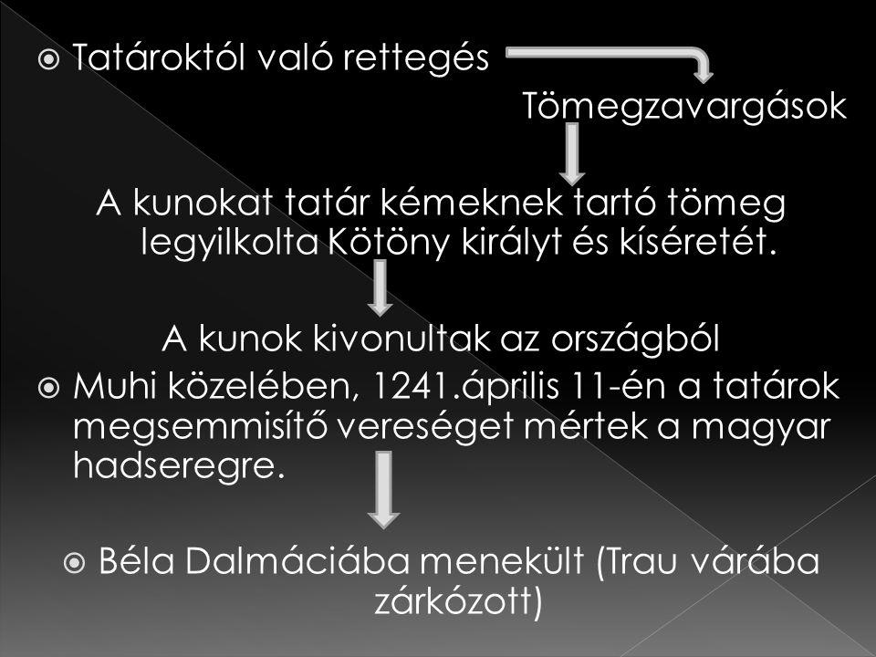  Tatároktól való rettegés Tömegzavargások A kunokat tatár kémeknek tartó tömeg legyilkolta Kötöny királyt és kíséretét. A kunok kivonultak az országb