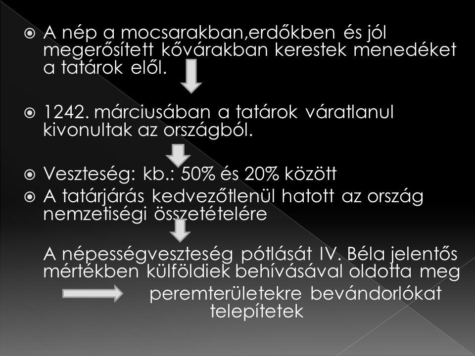  Északon: cseheket és lengyeleket  Erdélybe: románokat  Az Alföld benépesítése érdekében Béla visszahívta a kunokat (Nagykunság, Kiskunság)  IV.