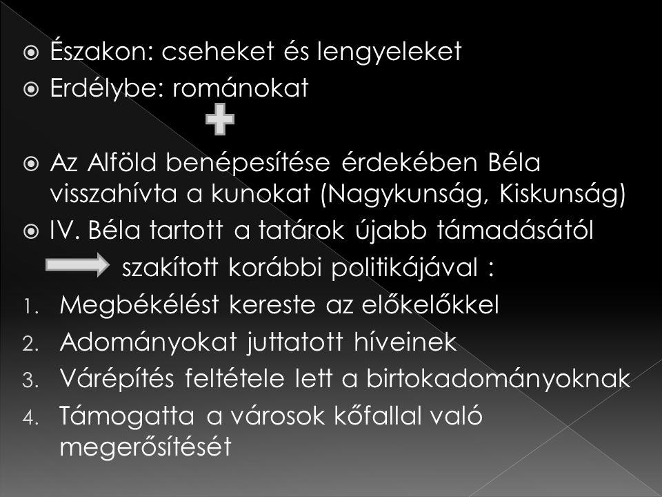  Északon: cseheket és lengyeleket  Erdélybe: románokat  Az Alföld benépesítése érdekében Béla visszahívta a kunokat (Nagykunság, Kiskunság)  IV. B