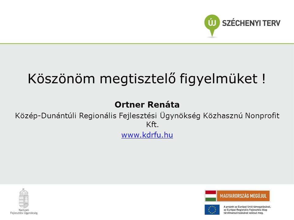 Köszönöm megtisztelő figyelmüket ! Ortner Renáta Közép-Dunántúli Regionális Fejlesztési Ügynökség Közhasznú Nonprofit Kft. www.kdrfu.hu