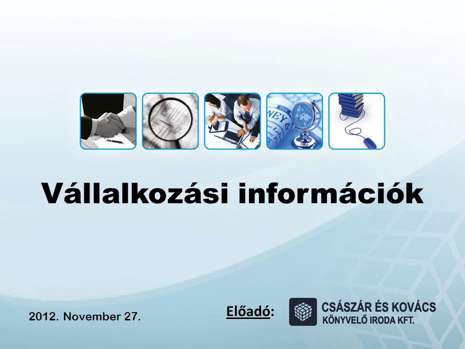 Vállalkozási információk Előadó: 2012. November 27.