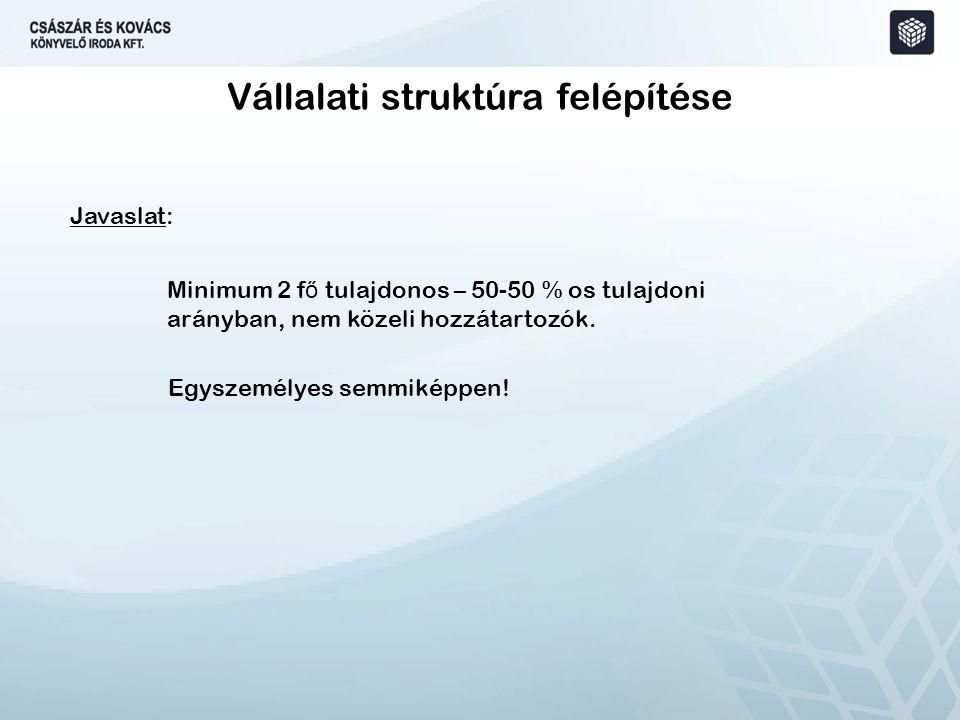 Vállalati struktúra felépítése Javaslat: Minimum 2 f ő tulajdonos – 50-50 % os tulajdoni arányban, nem közeli hozzátartozók.