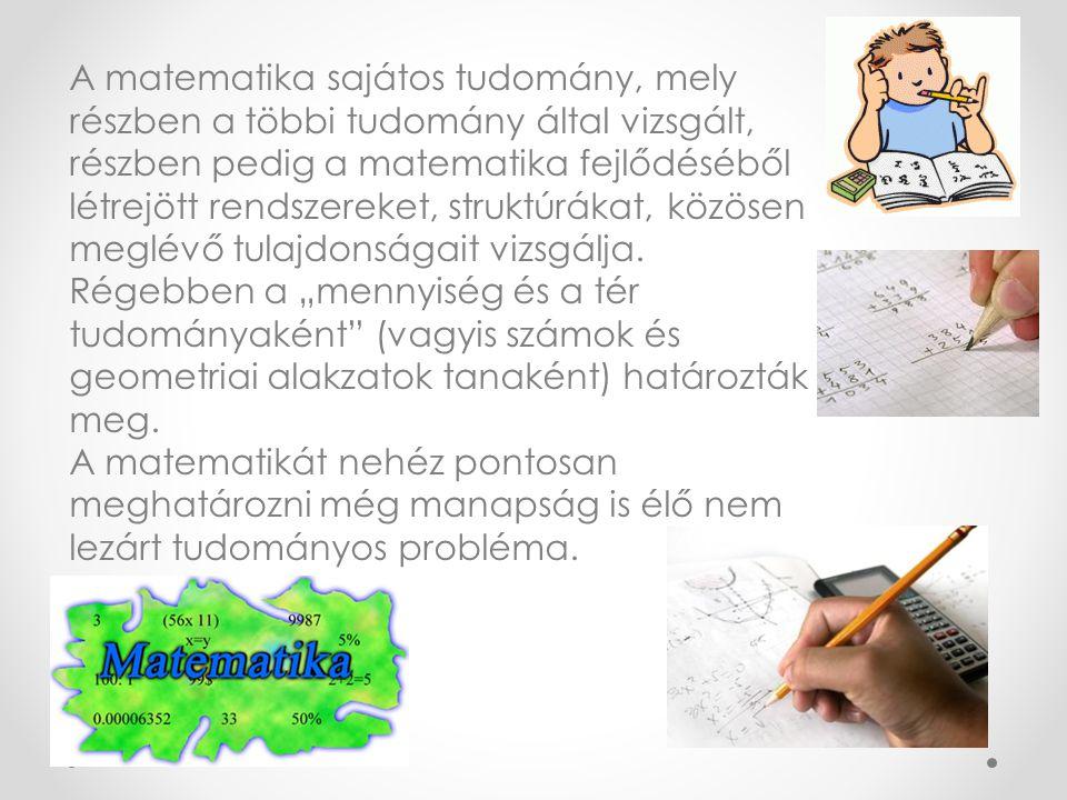 A matematika sajátos tudomány, mely részben a többi tudomány által vizsgált, részben pedig a matematika fejlődéséből létrejött rendszereket, struktúrá