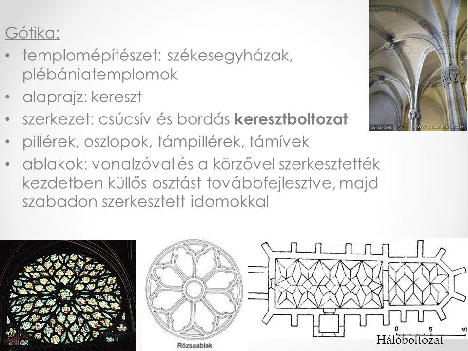 Gótika: • templomépítészet: székesegyházak, plébániatemplomok • alaprajz: kereszt • szerkezet: csúcsív és bordás keresztboltozat • pillérek, oszlopok, támpillérek, támívek • ablakok: vonalzóval és a körzővel szerkesztették kezdetben küllős osztást továbbfejlesztve, majd szabadon szerkesztett idomokkal Hálóboltozat