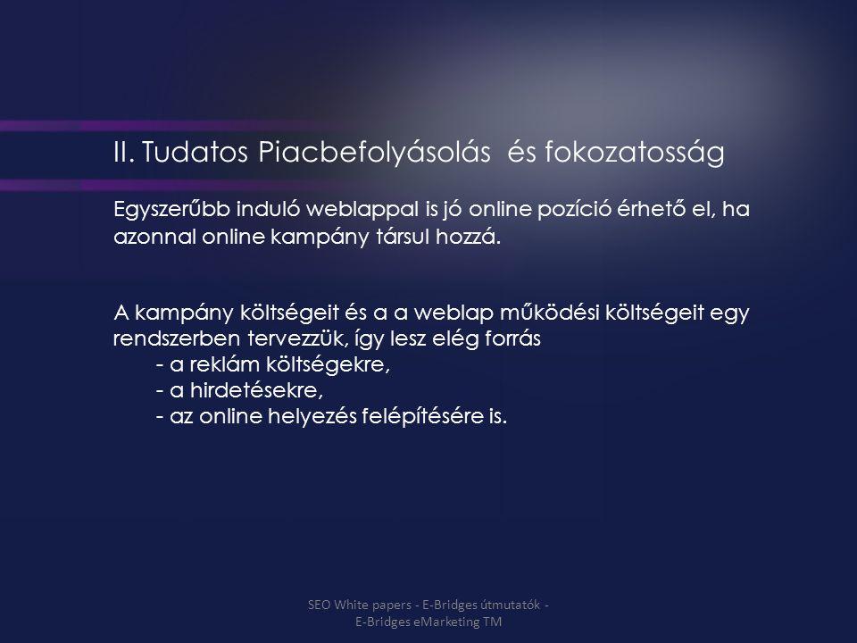 II. Tudatos Piacbefolyásolás és fokozatosság Egyszerűbb induló weblappal is jó online pozíció érhető el, ha azonnal online kampány társul hozzá. A kam