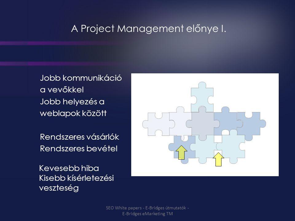 A Project Management előnye I. Jobb kommunikáció a vevőkkel Jobb helyezés a weblapok között Rendszeres vásárlók Rendszeres bevétel Kevesebb hiba Kiseb