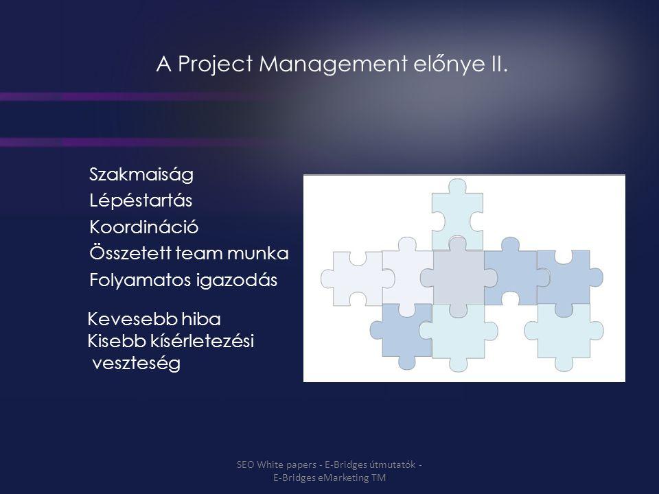 A Project Management előnye II. Szakmaiság Lépéstartás Koordináció Összetett team munka Folyamatos igazodás Kevesebb hiba Kisebb kísérletezési vesztes