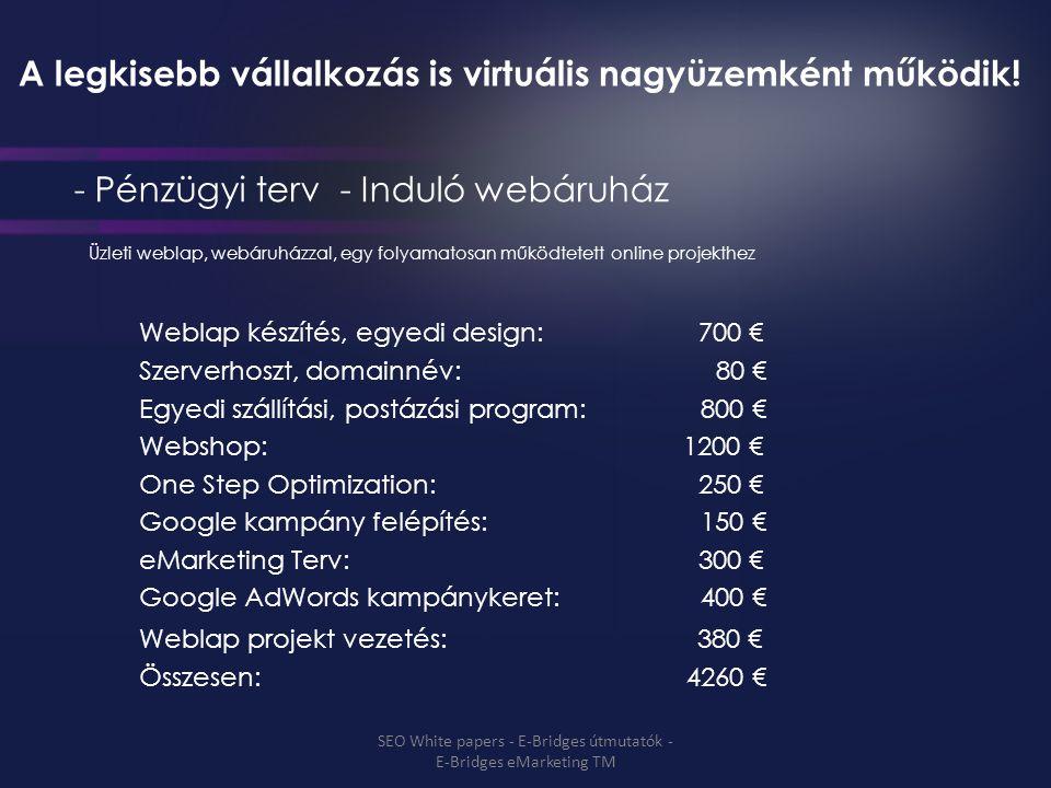 Weblap készítés, egyedi design: 700 € Szerverhoszt, domainnév: 80 € Egyedi szállítási, postázási program: 800 € Webshop: 1200 € One Step Optimization: 250 € Google kampány felépítés: 150 € eMarketing Terv: 300 € Google AdWords kampánykeret: 400 € Weblap projekt vezetés: 380 € Összesen: 4260 € - Pénzügyi terv - Induló webáruház Üzleti weblap, webáruházzal, egy folyamatosan működtetett online projekthez A legkisebb vállalkozás is virtuális nagyüzemként működik.