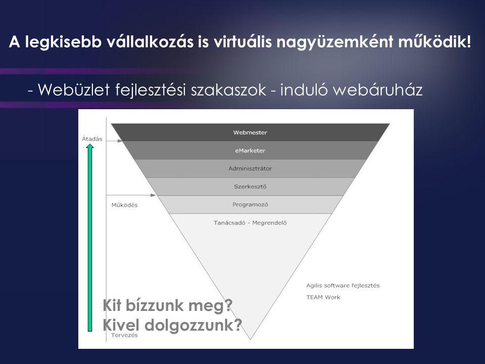 - Webüzlet fejlesztési szakaszok - induló webáruház Kit bízzunk meg.