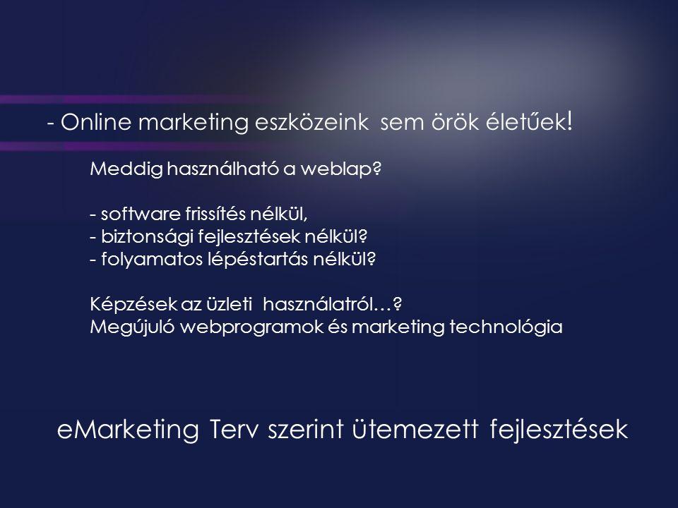 - Online marketing eszközeink sem örök életűek . Meddig használható a weblap.