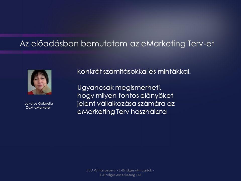 Az előadásban bemutatom az eMarketing Terv-et konkrét számításokkal és mintákkal.