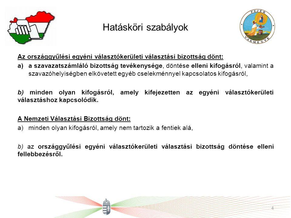 Hatásköri szabályok Az országgyűlési egyéni választókerületi választási bizottság dönt: a)a szavazatszámláló bizottság tevékenysége, döntése elleni ki