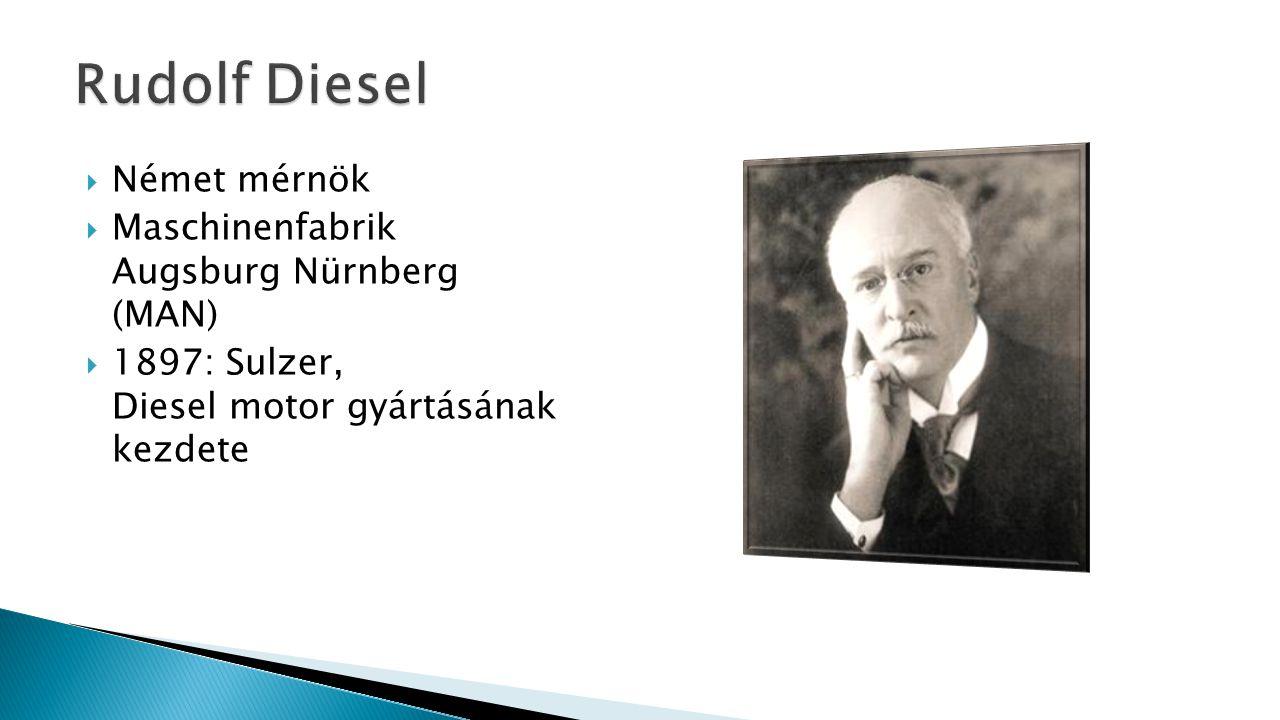  Német mérnök  Maschinenfabrik Augsburg Nürnberg (MAN)  1897: Sulzer, Diesel motor gyártásának kezdete