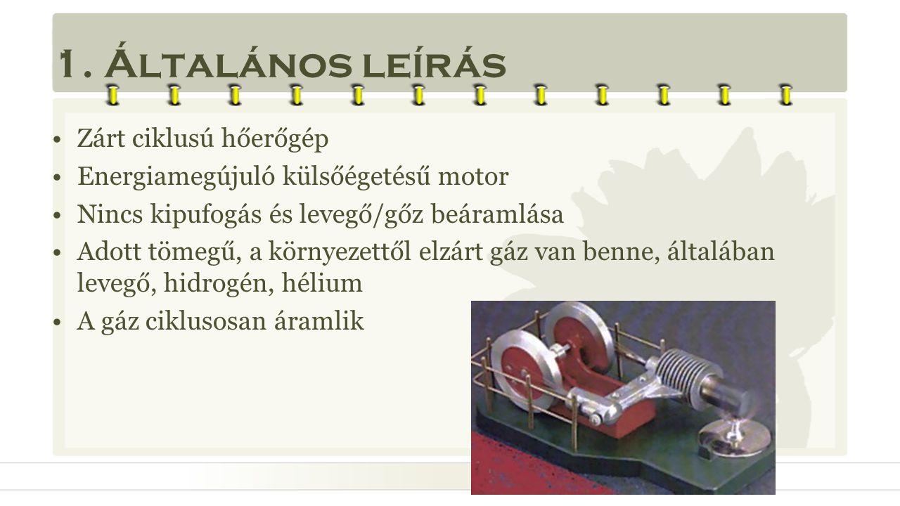 1. Általános leírás •Zárt ciklusú hőerőgép •Energiamegújuló külsőégetésű motor •Nincs kipufogás és levegő/gőz beáramlása •Adott tömegű, a környezettől