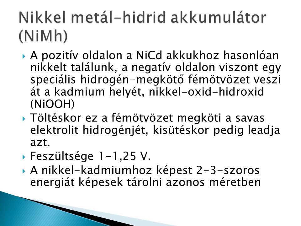  A pozitív oldalon a NiCd akkukhoz hasonlóan nikkelt találunk, a negatív oldalon viszont egy speciális hidrogén-megkötő fémötvözet veszi át a kadmium