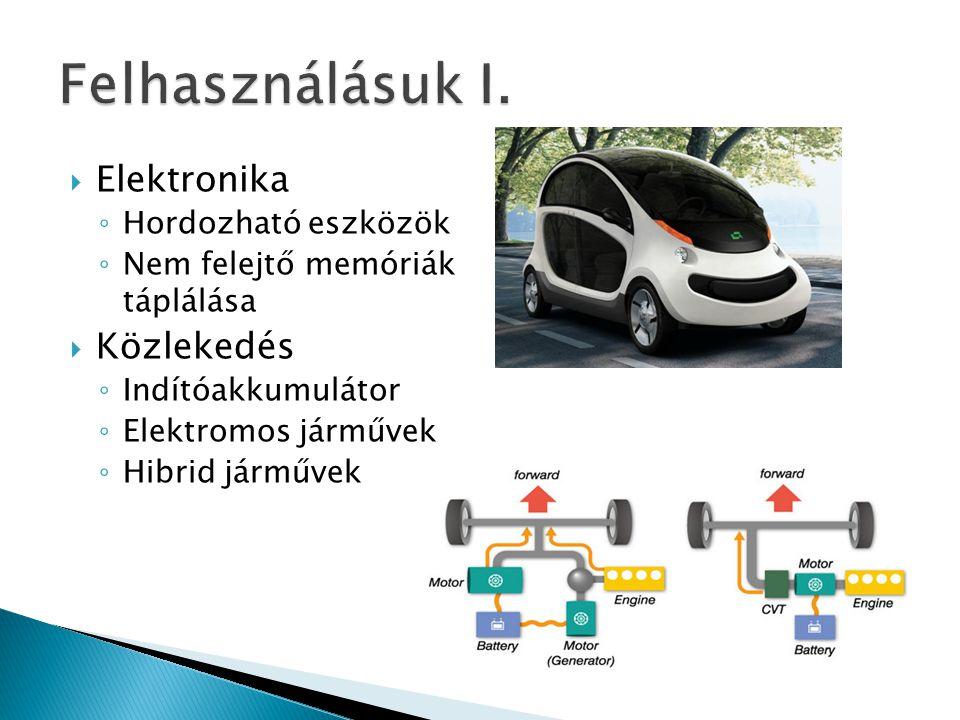  Elektronika ◦ Hordozható eszközök ◦ Nem felejtő memóriák táplálása  Közlekedés ◦ Indítóakkumulátor ◦ Elektromos járművek ◦ Hibrid járművek