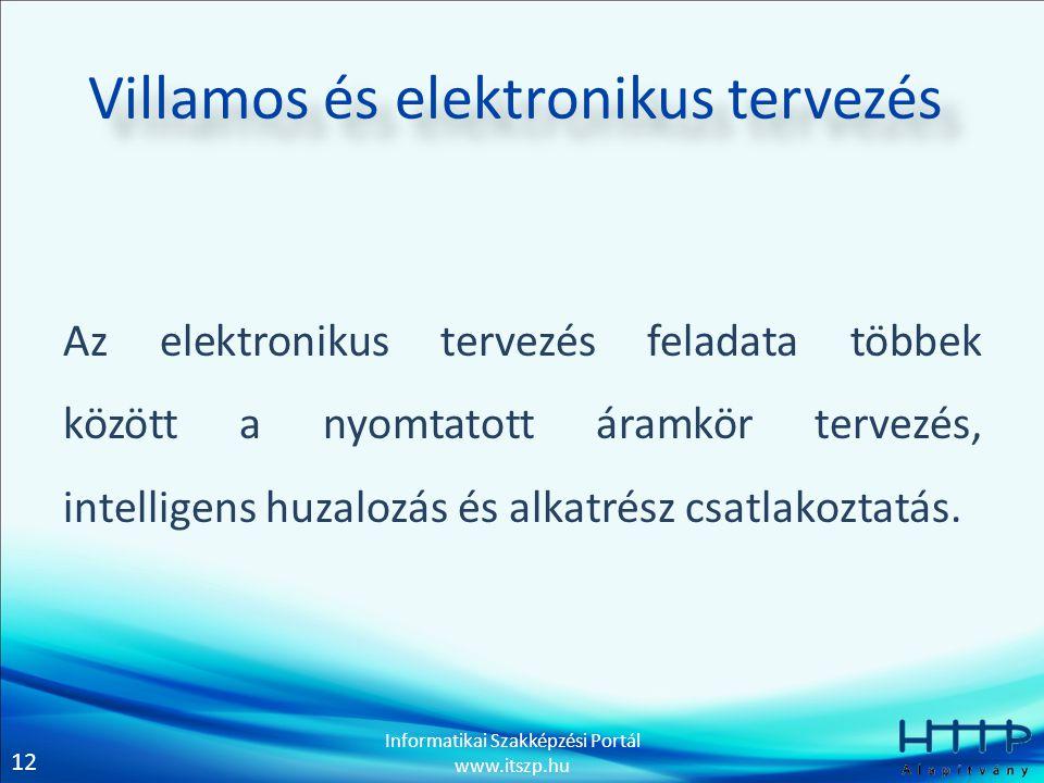 12 Informatikai Szakképzési Portál www.itszp.hu Villamos és elektronikus tervezés Az elektronikus tervezés feladata többek között a nyomtatott áramkör