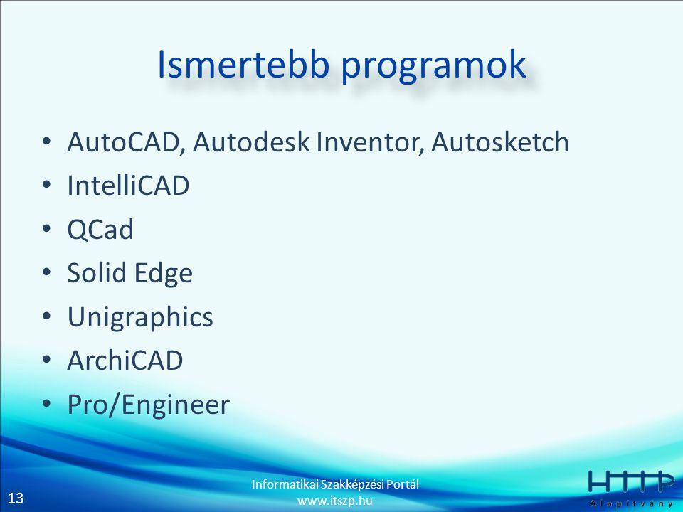 13 Informatikai Szakképzési Portál www.itszp.hu Ismertebb programok • AutoCAD, Autodesk Inventor, Autosketch • IntelliCAD • QCad • Solid Edge • Unigra