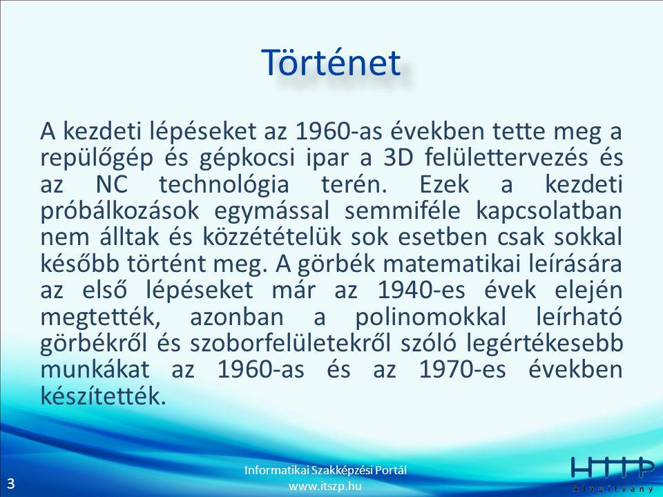 3 Informatikai Szakképzési Portál www.itszp.hu Történet A kezdeti lépéseket az 1960-as években tette meg a repülőgép és gépkocsi ipar a 3D felületterv