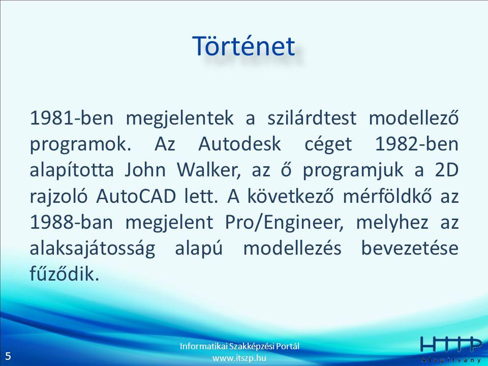 5 Informatikai Szakképzési Portál www.itszp.hu Történet 1981-ben megjelentek a szilárdtest modellező programok. Az Autodesk céget 1982-ben alapította