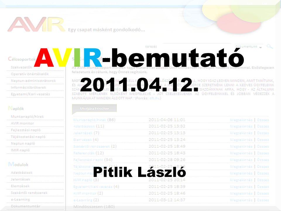 AVIR-bemutató 2011.04.12. Pitlik László