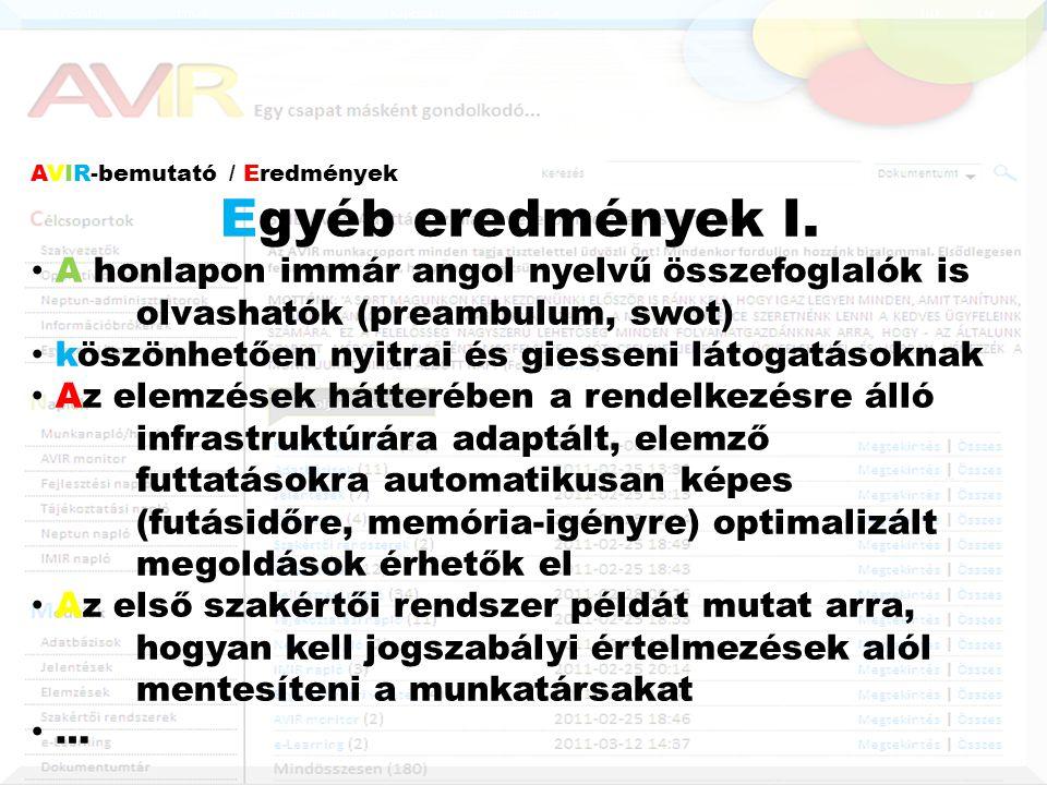 AVIR-bemutató / Eredmények Egyéb eredmények I.