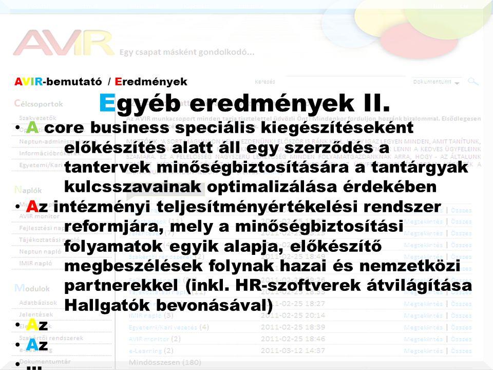 AVIR-bemutató / Eredmények Egyéb eredmények II.