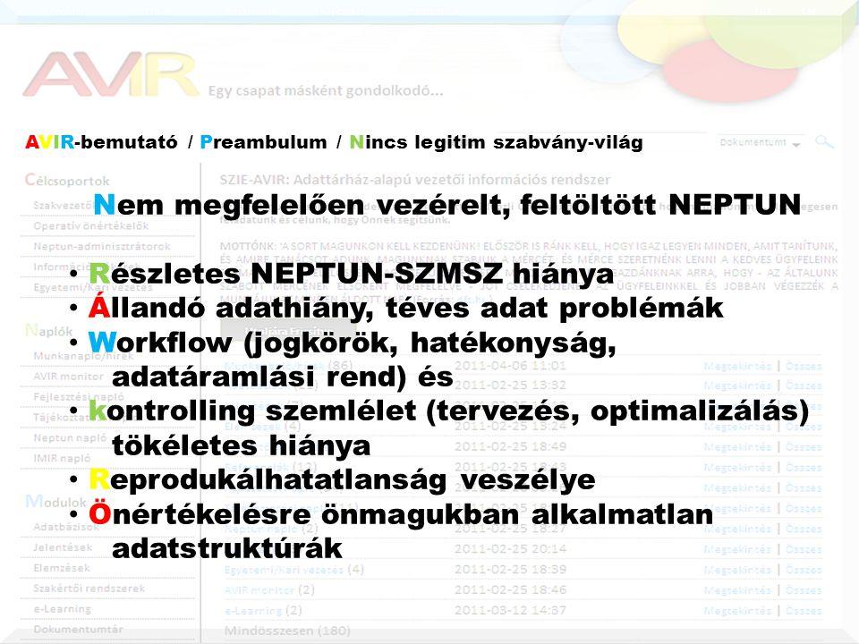 AVIR-bemutató / Preambulum / Nincs legitim szabvány-világ Nem megfelelően vezérelt, feltöltött NEPTUN • Részletes NEPTUN-SZMSZ hiánya • Állandó adathiány, téves adat problémák • Workflow (jogkörök, hatékonyság, adatáramlási rend) és • kontrolling szemlélet (tervezés, optimalizálás) tökéletes hiánya • Reprodukálhatatlanság veszélye • Önértékelésre önmagukban alkalmatlan adatstruktúrák