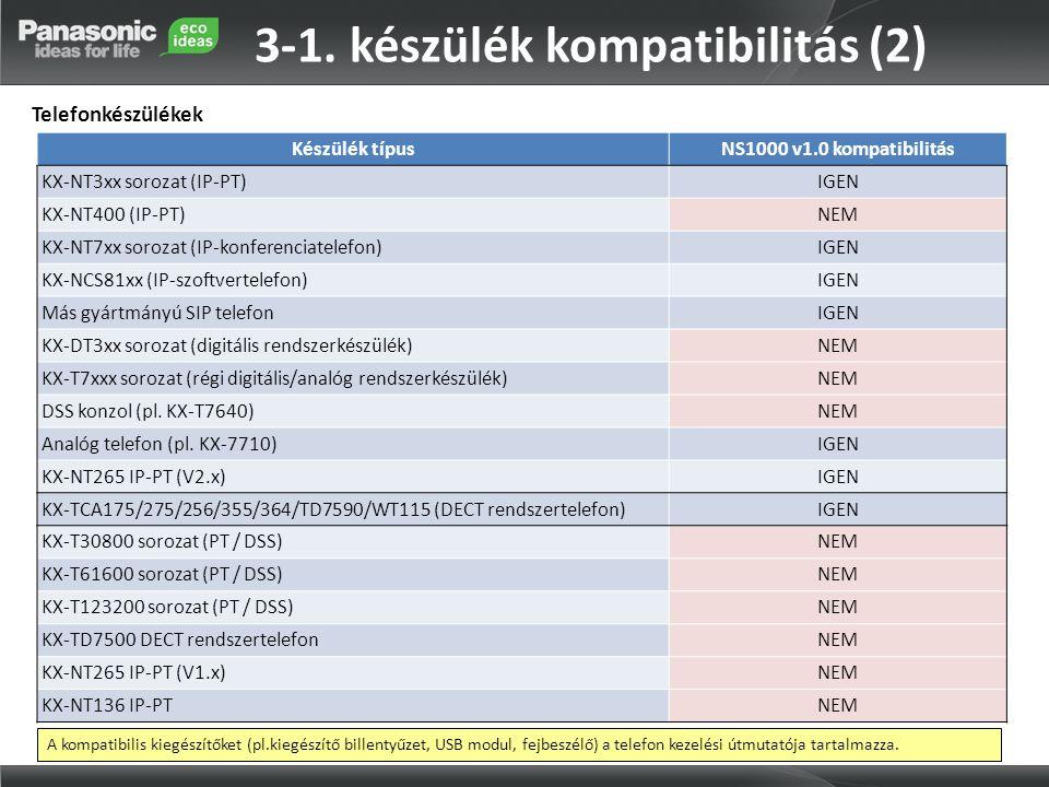 Készülék típusNS1000 v1.0 kompatibilitás KX-NT3xx sorozat (IP-PT)IGEN KX-NT400 (IP-PT)NEM KX-NT7xx sorozat (IP-konferenciatelefon)IGEN KX-NCS81xx (IP-