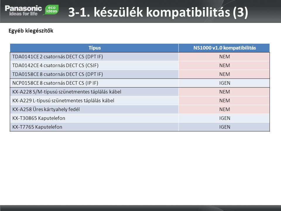 TípusNS1000 v1.0 kompatibilitás TDA0141CE 2 csatornás DECT CS (DPT IF)NEM TDA0142CE 4 csatornás DECT CS (CSIF)NEM TDA0158CE 8 csatornás DECT CS (DPT I