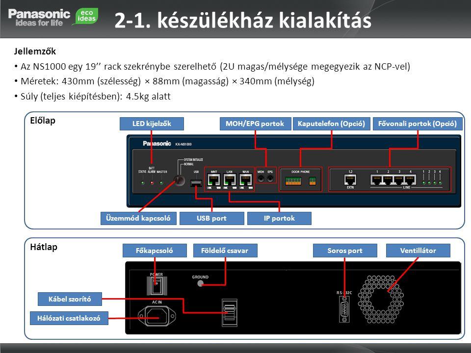 2-1. készülékház kialakítás Jellemzők • Az NS1000 egy 19'' rack szekrénybe szerelhető (2U magas/mélysége megegyezik az NCP-vel) • Méretek: 430mm (szél