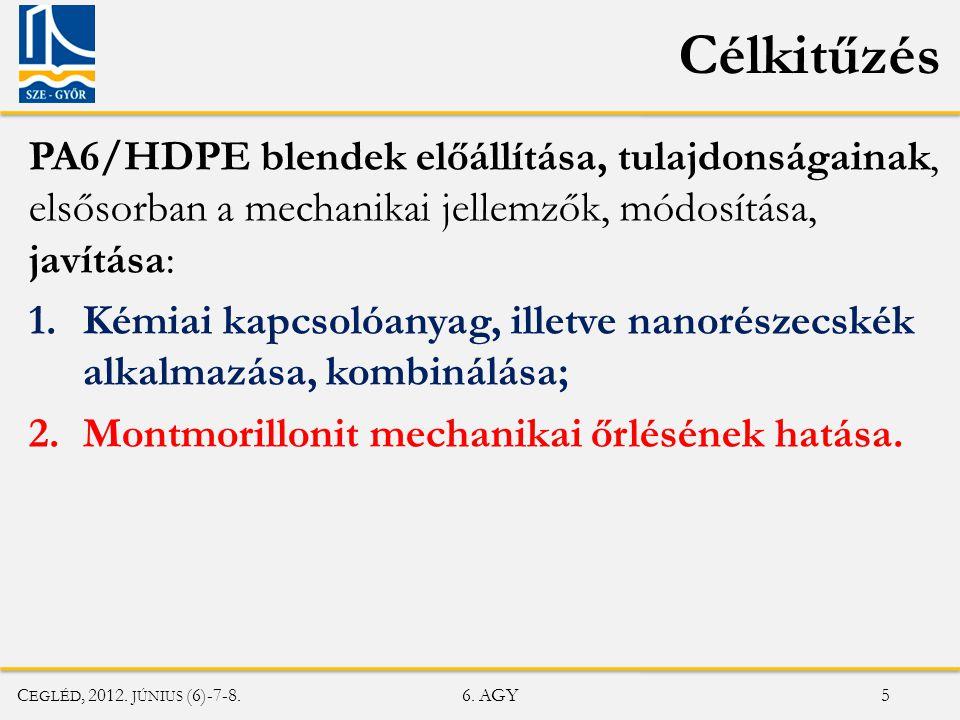 C EGLÉD, 2012.JÚNIUS (6)-7-8. 6. AGY 6 MMT SEP Alapanyagok Mátrix anyagok: • PA6 HVF (A.
