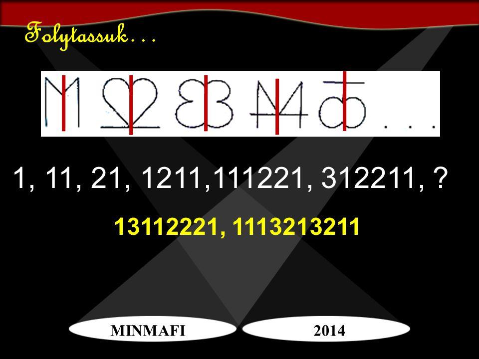 MINMAFI2014 Folytassuk… 1, 11, 21, 1211,111221, 312211, ? 13112221, 1113213211