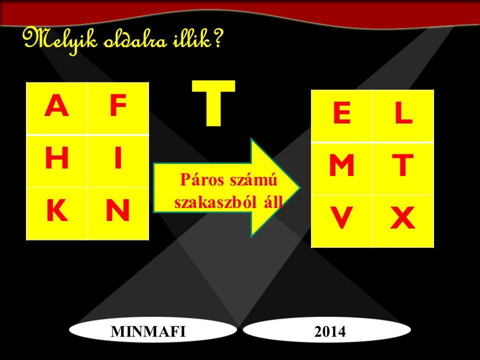 MINMAFI2014 Melyik oldalra illik? AF HI KN EL MT VX T Páros számú szakaszból áll