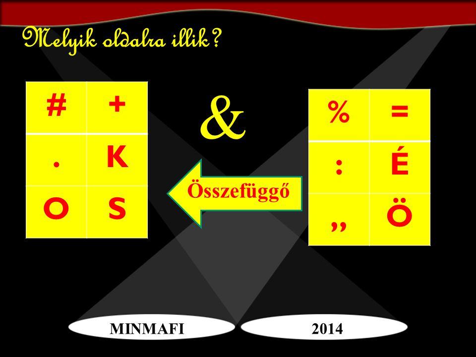 """MINMAFI2014 Melyik oldalra illik? #+.K OS %= :É """"Ö & Összefüggő"""