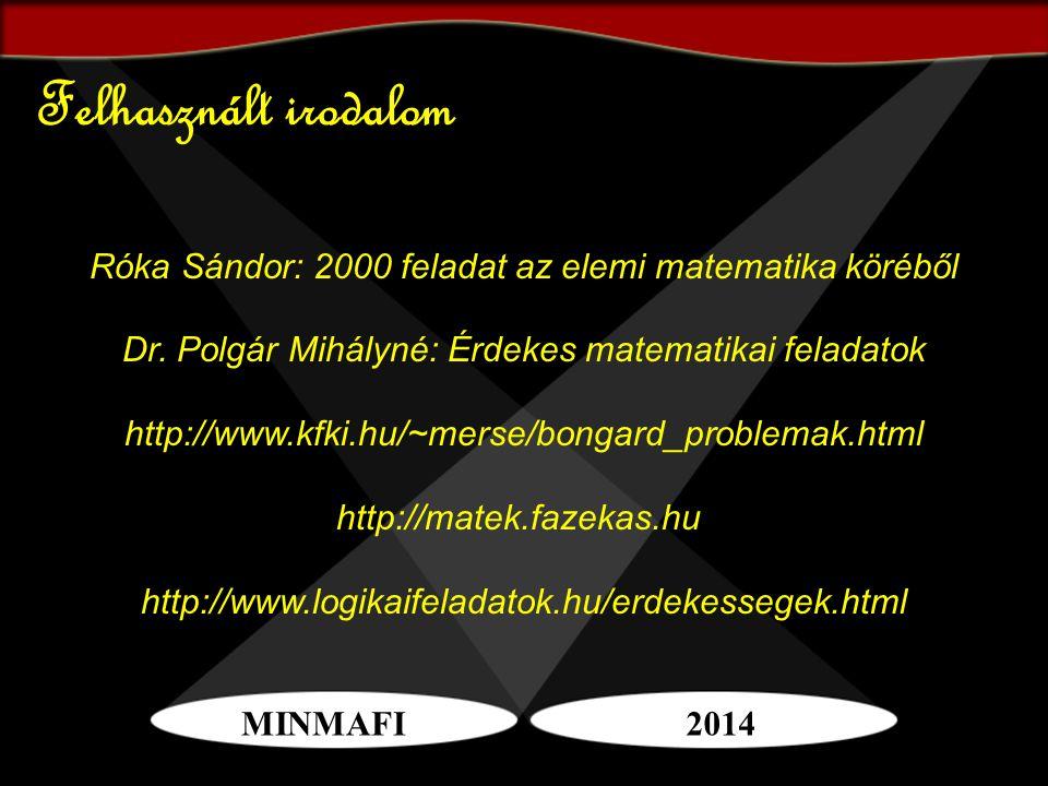 MINMAFI2014 Felhasznált irodalom Róka Sándor: 2000 feladat az elemi matematika köréből Dr. Polgár Mihályné: Érdekes matematikai feladatok http://www.k