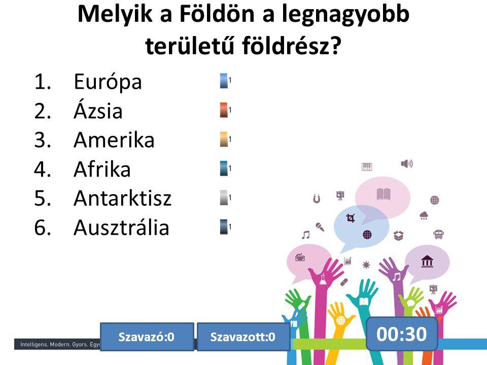 Melyik a Földön a legnagyobb területű földrész? 00:30 Szavazott:0Szavazó:0 1.Európa 2.Ázsia 3.Amerika 4.Afrika 5.Antarktisz 6.Ausztrália
