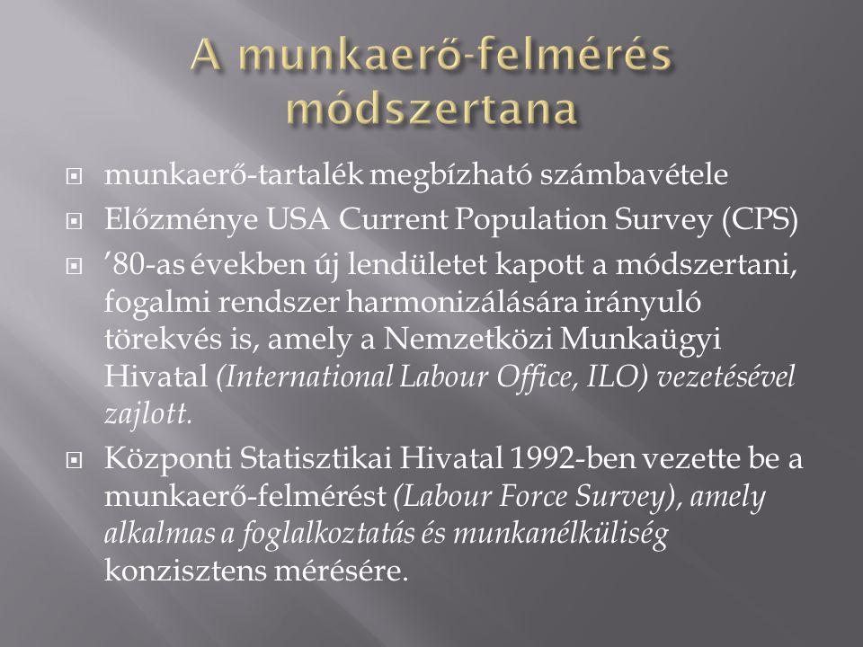  munkaerő-tartalék megbízható számbavétele  Előzménye USA Current Population Survey (CPS)  '80-as években új lendületet kapott a módszertani, fogalmi rendszer harmonizálására irányuló törekvés is, amely a Nemzetközi Munkaügyi Hivatal (International Labour Office, ILO) vezetésével zajlott.