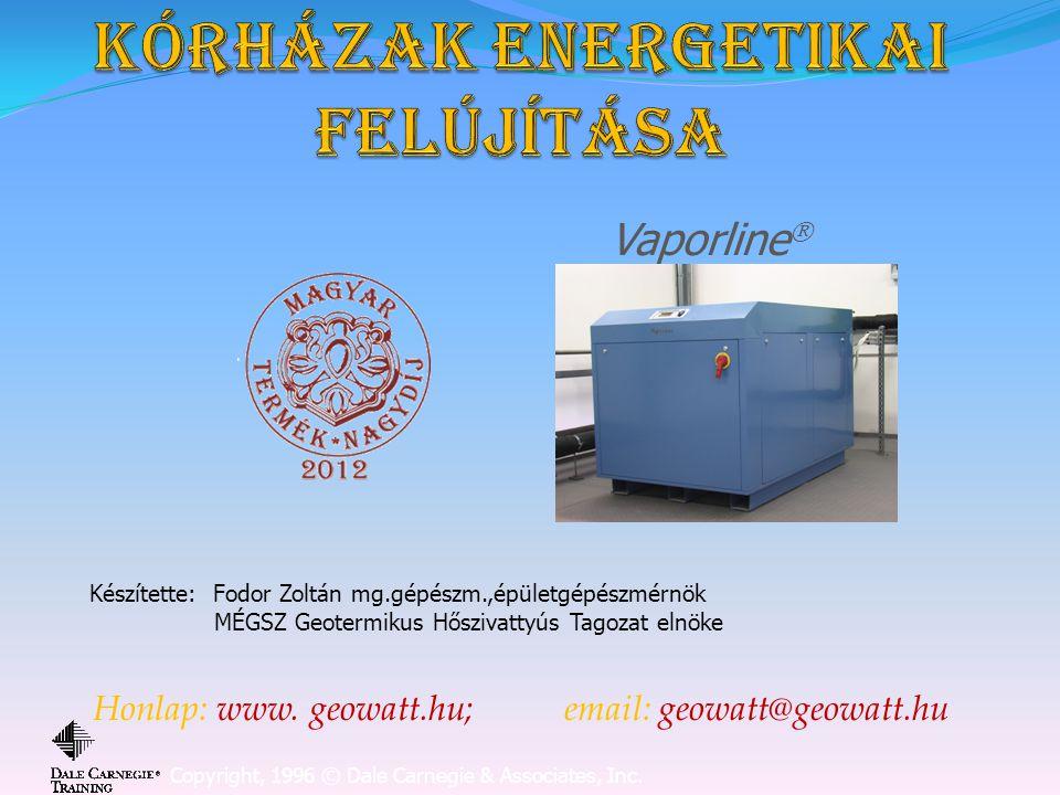 Vázlat  A kórházak energetikai jellemzői  Az energetikai felújítás optimális megoldása  Megújuló energiák használata,összehasonlítás  A geotermikus hőszivattyú alkalmazásának vizsgálata  Nyitott kutas rendszerek  Zárt szondás rendszerek  Hulladékhő alkalmazás  Kombinált alkalmazás- aktív hűtéssel egyidejű HMV termelés  A feltárt veszteségek minimalizálása(szellőzés)  A hőszivattyús rendszerek költség- hatékonyság alakulása  600kW-os fűtő-aktív hűtő-HMV rendszer várható költsége  A várható megtérülés ideje  A kedvező költség-hatékonyság alakulás feltételei  Az alkalmazott hőszivattyúk kritériumai  Az EVI kompresszorok alkalmazásának előnyei magas kondenzációs hőmérséklet és magas elpárolgási hőmérséklet esetén /COP, fűtési teljesítmény/  A hőszivattyúk kihasználtságának növelése, mint a beruházási költségek minimalizálásának feltétele.