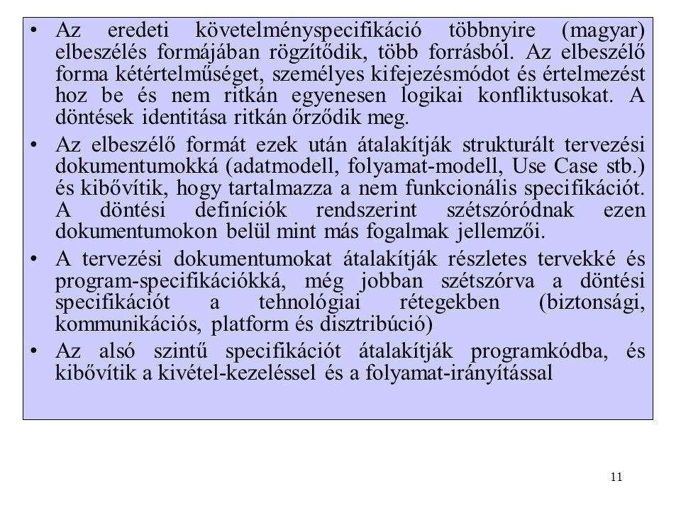 •Az eredeti követelményspecifikáció többnyire (magyar) elbeszélés formájában rögzítődik, több forrásból.