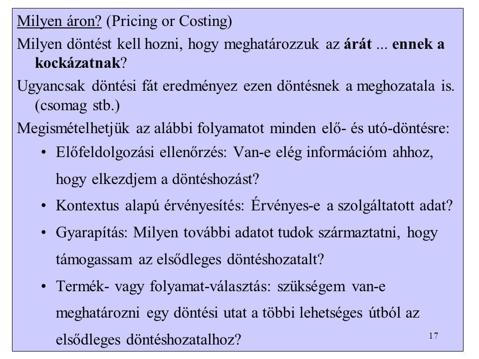 Milyen áron. (Pricing or Costing) Milyen döntést kell hozni, hogy meghatározzuk az árát...